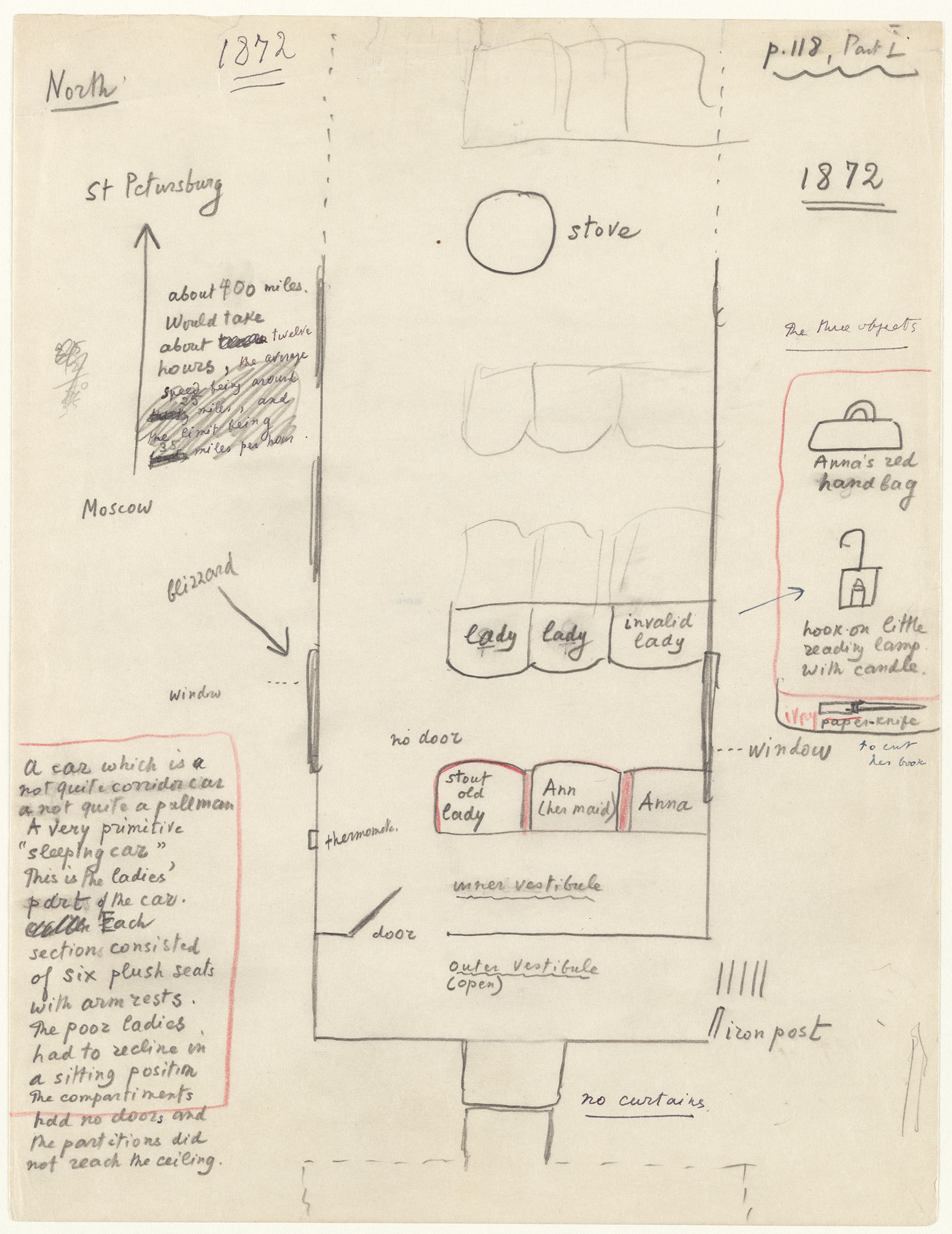 diagram of Nabokov's sketch of the train car Anna sat in based on Tolstoy's text.